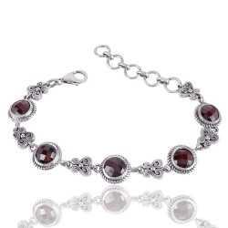 Garnet Gemstone 925 Sterling Silver Bracelet