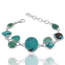Natural Tibetan Turquoise Gemstone 925 Sterling Silver Cluster Bracelet
