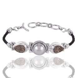 Pyrite And Pearl Gemstone 925 Sterling Silver Bracelet