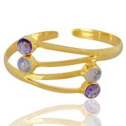 Amethyst And Rainbow Moonstone Gemstone 925 Sterling Silver Bracelet