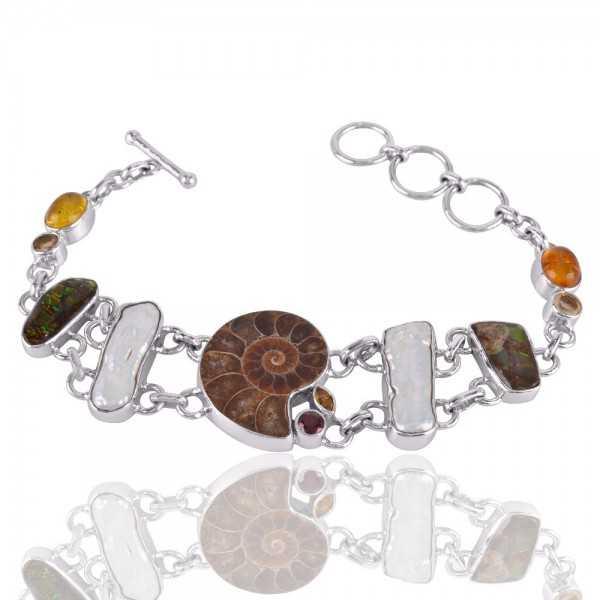 Amber And Multigemstone 925 Sterling Silver Bracelet