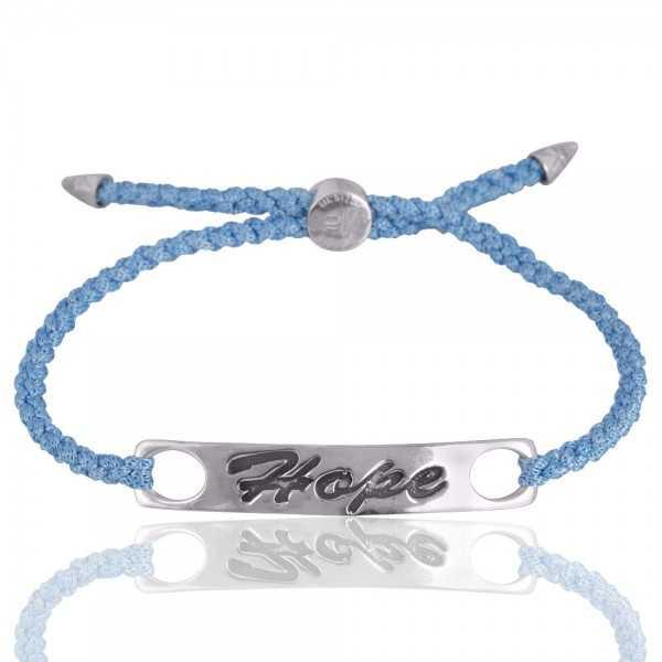 Sky Blue Gemstone 925 Silver Cord Bracelet