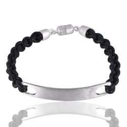 Leather Cord 925 Solid Silver Bracelet