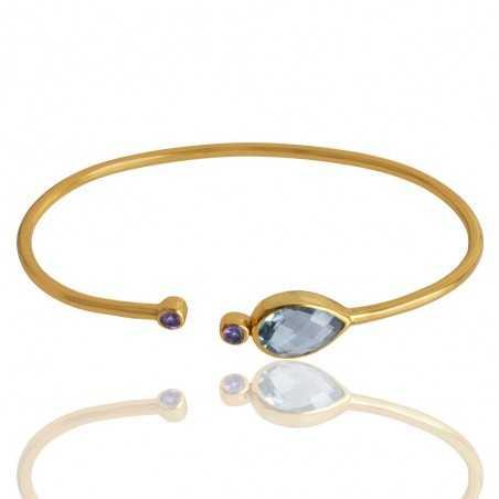 Sky Blue Topaz And Amethyst Gemstone 925 Silver Bracelet