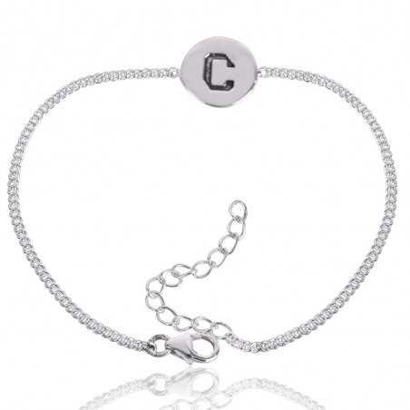 "Alphabet ""C"" Charm 925 Sterling Silver Bracelet"