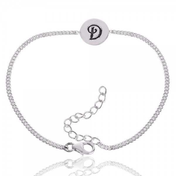 "Alphabet ""D"" Charm 925 Sterling Silver Bracelet"