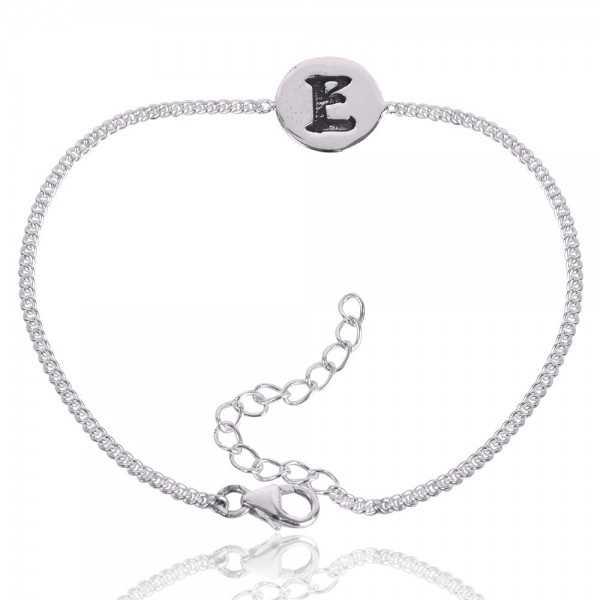 "Alphabet ""E"" Charm 925 Sterling Silver Bracelet"