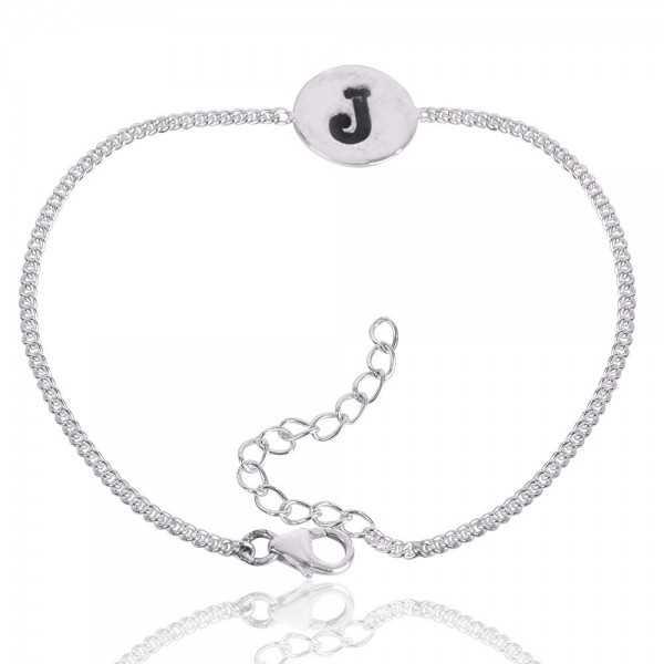 "Alphabet ""J"" Charm 925 Sterling Silver Bracelet"