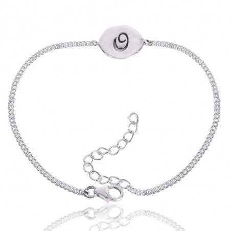 "Alphabet ""Q"" Charm 925 Sterling Silver Bracelet"