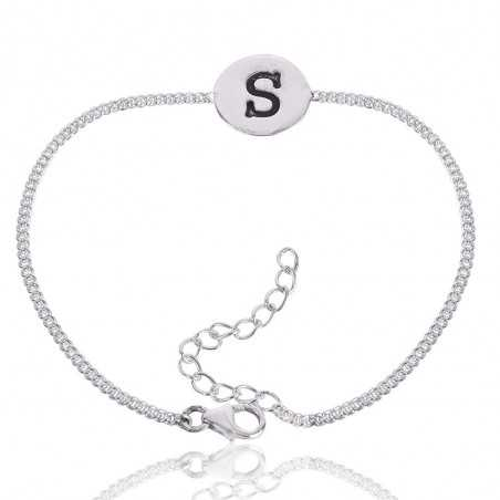 "Alphabet ""S"" Charm 925 Solid Silver Bracelet"