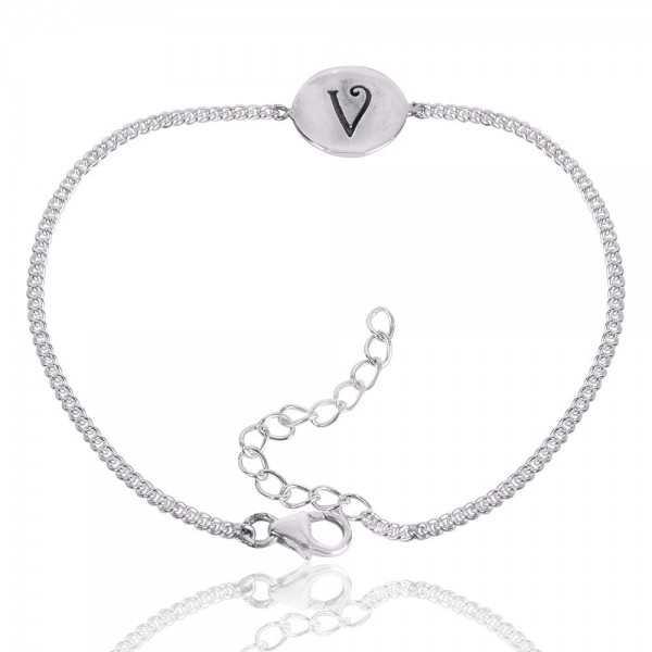"Alphabet ""V"" Charm 925 Sterling Silver Bracelet"