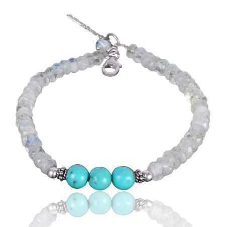 Arizona Turquoise And Rainbow Moonstone Beads Gemstone 925 Solid Silver Bracelet