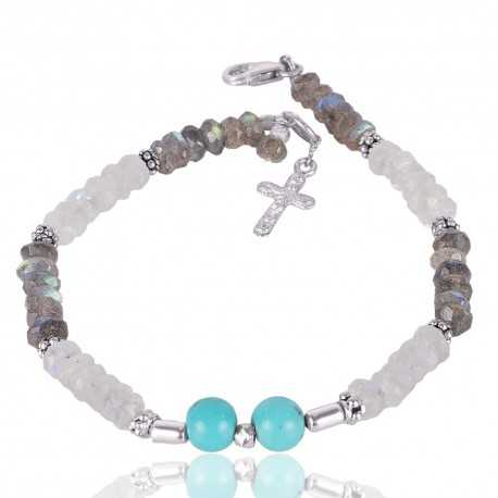 Labradorite Arizona Turquoise And Rainbow Moonstone Beads Gemstone 925 Sterling Silver Bracelet
