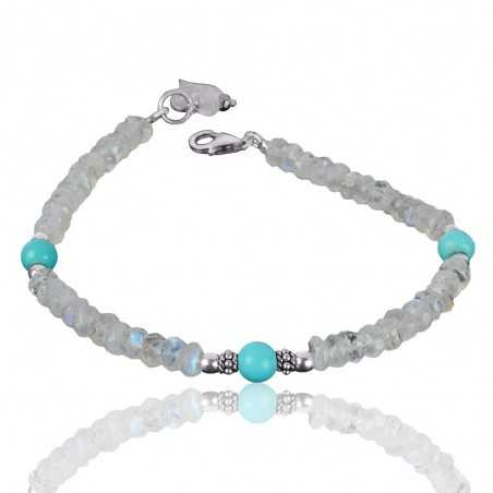 Natural Turquoise And Rainbow Beads 925 Silver Bracelet