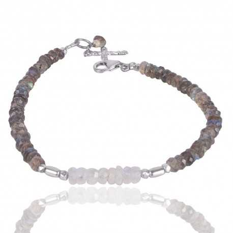 Rainbow Moonstone And Labradorite Beads Gemstone 925 Solid Silver Bracelet