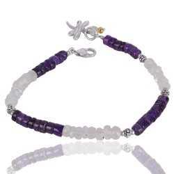 Amethyst And Rainbow Moonstone Beads Gemstone 925 Silver Cluster Bracelet
