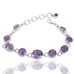 Amethyst Gemstone 925 Silver Cluster Bracelet