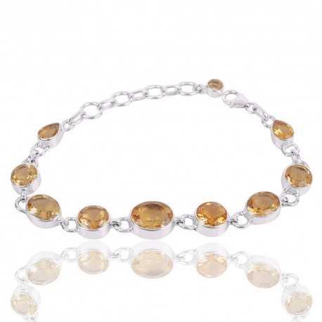 Sterling Silver Citrine Gemstone Cluster Bracelet