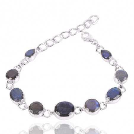 Labradorite Gemstone 925 Silver Bracelet