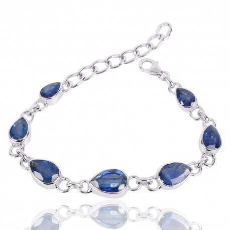 Kyanite Gemstone Silver Cluster Bracelet