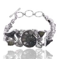 Hematite Ammonite And Multigemstone 925 Sterling Silver Bracelet