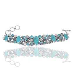 Arizona Turquoise And Multigemstone Sterling Silver Bracelet