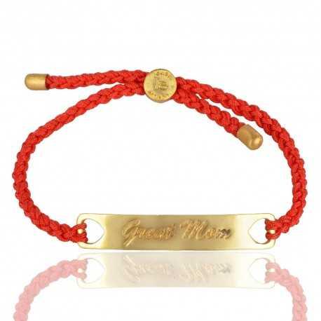 Red Gemstone Gold Plated Brass Bracelet