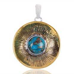 Blue Copper Turquoise Gemstone Brass Pendant