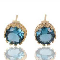 Blue Swarovski Glass Gold Vermeil Fashion Designer Post Earring