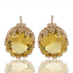 Yellow Swarovski Glass Gold Plated Fashion Designer Stud Earring