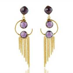 Amethyst Color Stone 925 Sterling Silver Earring