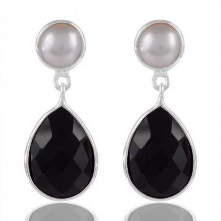 Pearl And Black Quartz Sterling Silver Drop & Dangle Earring
