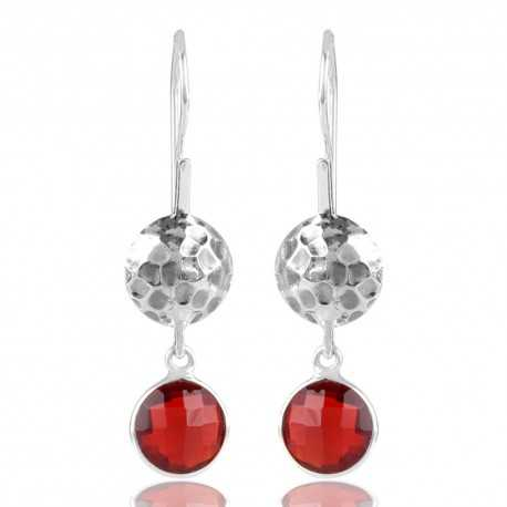 Red Stone Hammered Design 925 Sterling Silver Earring