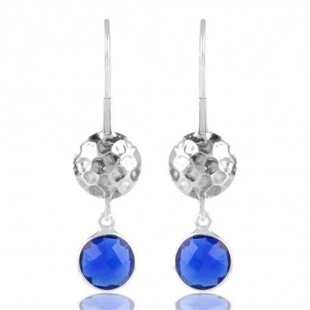 Hammered Design Blue Stone Solid Silver Earring