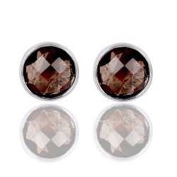 Attractive Smoky Quartz Round Shape 925 Silver Stud Earring