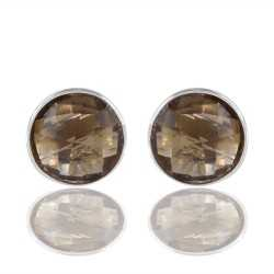 Smoky Quartz Coluor Stone Sterling Silver Stud Earring