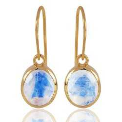 1 Micron gold plated 925 sterling silver base metal and rainbow moonstone dangle earrings