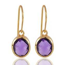 1 Micron gold plated 925 sterling silver base metal and Amethyst dangle earrings