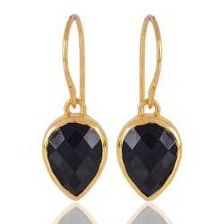 1 Micron gold plated 925 sterling silver base metal and Black Onyx dangle earrings