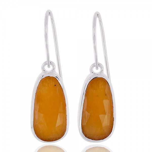 Multi sapphire Gemstone Solid Silver Dangle Earrings