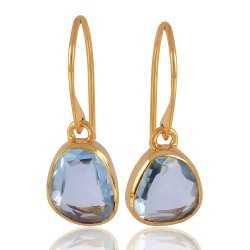 Blue Toapz Real Gemstone Gold Vermeil Earrings