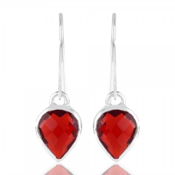 Red Stone Solid 925 Silver Earring