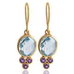Amethyst and Blue Toapz 925 Sterling Silver gold Vermeil Earrings