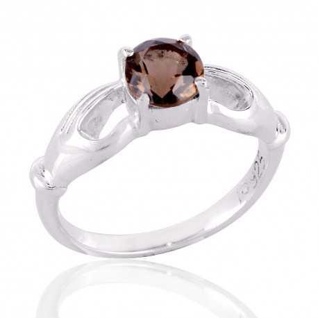 Smokey Quartz 925 Sterling Silver Ring