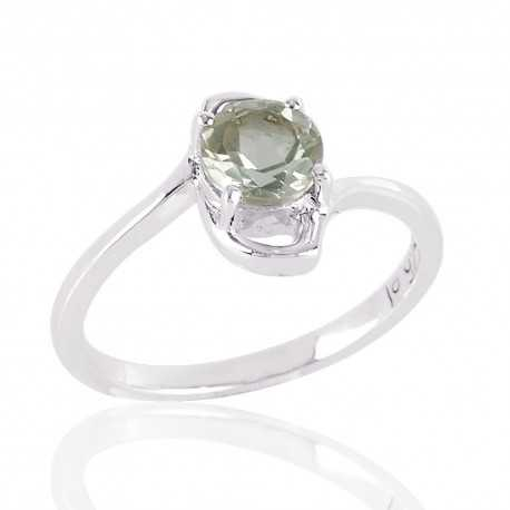Natural Persiolite and 925 Sterling Silver solitaire engagement Ring