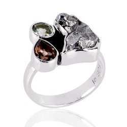 Persiolite Metorite and Smokey three Stone Solid Silver Ring