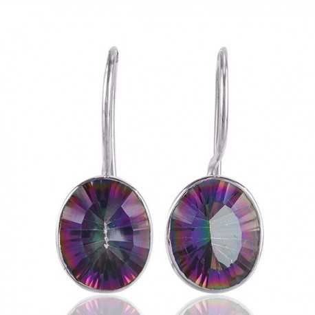 Natural Mystic Quartz Gemstone 925 Sterling Silver Earring Jewelry