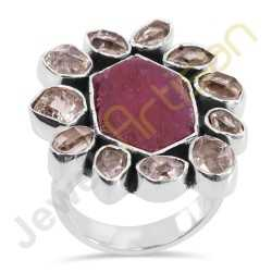 Real Raw Ruby Gemstone & Herkimer diamond Solid Sterling Silver Statement Ring