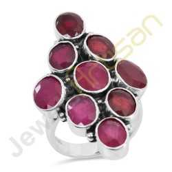 Natural Red Ruby Gemstone Sterling Silver Statement Ring