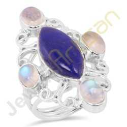 Natural Lapis Rainbow Moonstone Sterling Silver Statement Ring